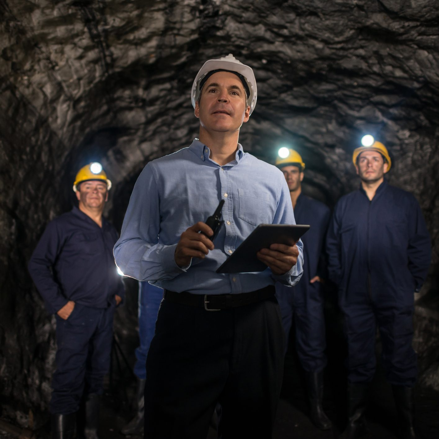 Coal mine inspector checking the safety of a coal mine